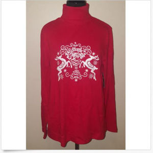 White Stag Red Glitter Merry Christmas Turtleneck
